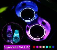2 unids LED Copa de copa Atmósfera Atmósfera Luces para Mercedes Benz Volkswagen VW RGB USB Tazas de carga Cojín interior Atmósfera-Lámpara