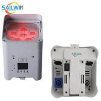 تعمل Sailwin رخيصة المرحلة إضاءة 6x18W 6in1 RGBAW + UV البطارية WIFI LED الخفيفة الاسمية DJ الذكية LED UPLIGHT 6 / 10CH لحزب ديسكو PowerCon