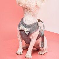 Chaleco estilo perro gato correa arnés arco bell bell paño de malla perros mascota plomo leash cachorro impreso ajustable mascota chaleco arneses VT1539 T03