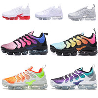 Nike Air Vapormax TN Plus Casual Shoes 2018 Hombres Casual Triple Negro Verde Oliva Metálico Blanco Plata Casual Shoes Senderismo Zapatillas de deporte para correr