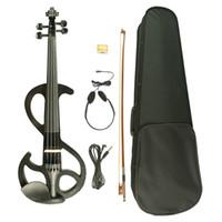 4/4 전기 바이올린 4/4 전체 크기 솔리드 우드 전기 사일런트 바이올린 W / 케이스 활 로진 새로운