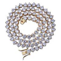 Gold überzogenes Kupfer-Hip Hop Runde CZ Zirkonia Tennis-Ketten-Halskette 4 6 8 mm Unisex Iced Out Diamant-Punkrock-Rapper Schmuck für Männer Frauen