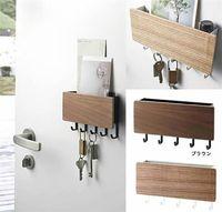 Wall-hung Tipo de madeira decorativa Prateleira Caixa de armazenamento Sundries Prateleira Cabide organizador Key rack de madeira Prateleira