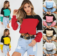 85f493c198203 Lace Up Patchwork Bare Midriff Hoodies Women Long Sleeve O-Neck Crop Tops  Sweatshirts Color Collision Drawstring Sweater Pullover OOA6026