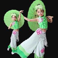 costumes de danse de vêtements chinois classique fan de danse enfants filles vêtements yangko parapluie costumes nationaux