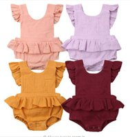 Cute New Baby girl clothes Ruffles Sleeve Rompers Jumpsuit C...
