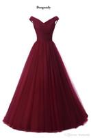 Vestidos de dama de honor baratos 2019 Borgoña Navy Blue Maid of Honor Vestidos Pliegues formales Vestido de invitado de boda Una línea Vestido de Novia
