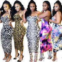 Femmes Sexy Dossier Robes Spaghetti Strap Maxi Jupes Maxi Sans Manches Skinny Robe Mode ClubWear Vêtements d'été Casual Slim Robe 2951