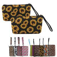 حقيبة يد السيدات حقيبة مستحضرات التجميل مجموعة حقيبة النيوبرين سعة كبيرة ليوبارد طباعة عباد الشمس طباعة 9 أنواع من حقيبة جمع التجميل