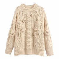 women's new long sleeve Mock Neck in autumn 2019 with color matching Crochet Pattern crochet knitting sweater 00021118712