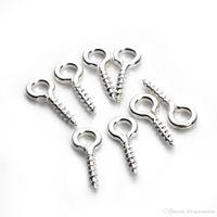 600 teile / los Silber Überzogene kleine winzige Mini-Augen-Pins-Eyepins Haken Ösen-Gewinde DIY Schmuck machen 8mm