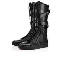 عناصر جديدة! الرجال حذاء أسود حقيقية والجلود الرياضة بارد رجل شقة أسفل أحمر سستة رياضي المتأنق شقة مع المسامير، والأحذية في الركبة مشبك لman35-46