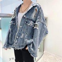 Primavera Otoño 2020 Harajuku Jeans Chaqueta mujeres sueltan la vendimia rasgado raído dril de algodón chaquetas de las señoras del punk Streetwear Coats unisex CY200515