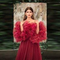 2020 Свадебные Цветочные Тюль платья с плеча Длинные Женщины Тюль Материнство Одеяния Пушистый рукава цветок Тюль Ruffled вечернее платье