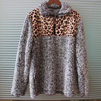 Winter 2019 new leopard sherpa pullover long sleeve sunflowe...