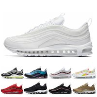 97 Men Running Shoes Triple White black sunburst Throwback F...