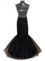 Nueva Blanco / Negro largo de la sirena de la enagua para la fiesta de la boda vestidos de crinolina enagua Saiote de Noiva 1 Aros