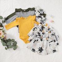 Kızlar Giyim Çocuk Çiçekli Giyim Bebek fırfır Rompers Etek Kafa Kıyafetler INS Katı Tulum TUTU Etekler Hairband Seti C6785 ayarlar