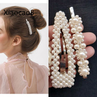 4 Style Fashion Shell Pearl Hair Clips for Women Stainless S...