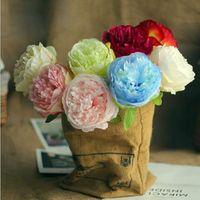 5pc Big Peony Artifcial Seda Flor de seda Boda Decoración Decoración Casa Blanco Pantalla Fake Flowers Pack Heart Pink Rose