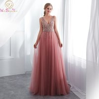 Hot Sell Beading Crystal Prom Dresses V neck Pink High Split...
