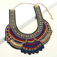 Pônei colorido colar de colarinho para as mulheres designer de luxo lantejoulas gargantilha colares pingente boêmio estilo férias declaração presente da jóia
