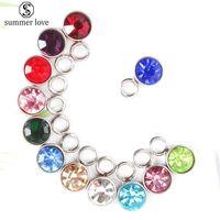 12 compleanno mese Stones Charms Bracciale in acciaio inox Collana con strass di cristallo rotonda fai da te Charms gioielli-Z