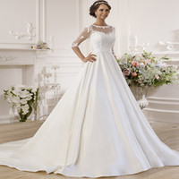 Gorgeous Half Sleeves Satin Ball Gown Wedding Dresses with S...