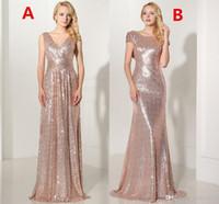 Real 2019 розовое золото Sequined Длинные платья невесты Sexy V-образным вырезом плиссированные Backless официально платье партии Платье De Festa Лонго SD349 SD347