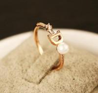 Корейский моды жемчуг инкрустированные циркона женское кольцо покрыло 18k золото без выцветания кольца темперамента женских случайных подарка ювелирного изделий дикого кольца