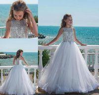 뜨거운 2019 크리스탈 소녀 미인 대회 드레스와 청소년을위한 Tulle Floor Length Beach 결혼식을 위해 고급스러운 꽃의 소녀 드레스 맞춤 제작