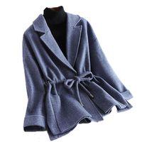 2019 nuevas capas del invierno las mujeres del otoño da vuelta-abajo ajustable bolsillo mujeres de la cintura abrigos de lana cachemira elegante YM1031