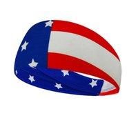 USA ماجيك العمامة في الهواء الطلق العصابة العلم مخطط نجمة أغطية الرأس الحجاب الرياضة الرأس مناديل اليوغا رياضة العصابة LJJA4015
