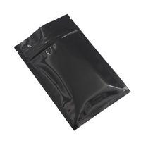 100pcs Retail calor selável Zipper Top Pó Armazenamento de Alimentos Embalagem Bag Preto Brilhante Alumínio zip lock sacos de plástico Bolsa