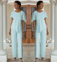 2020 Madre de la novia vestidos de los juegos de pantalones huésped de la boda vestido de gasa de seda de manga corta con gradas Madre de trajes de novia Pant por encargo