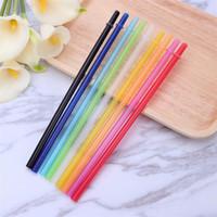 Paja sólida roscada de paja de plástico de color mezclado para la barra de inicio de fiesta con pinceles 25pcs / lot xd22712