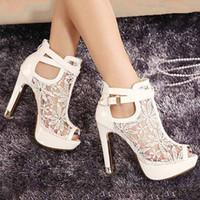 Свадебные белые кружева свадебное платье обувь Peep пальцы лодыжки ремень 13см Sexy супер высоких каблуках насосов обувь 2 цвета РАЗМЕР 35 42