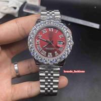 프롱 세트 다이아몬드 손목 시계 남성 뜨거운 판매 시계 실버 스테인레스 스틸 케이스 스트랩 시계 자동 기계 스포츠 시계