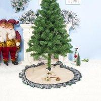 Árvore de Natal Saias bowknot Patchwork Início Pad Grades de linho vermelha ornamento Festival Suprimentos Decoração 100 * 100CM LXL497-A