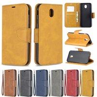 Wallet Hüllen für Samsung Galaxy J730 J530 J330 J7 J6 J5 J4 Plus Prime J3 J2 Pro EUR Wolle Muster Streifen Weiche PU Leder Rückengehäuse Magnetische Flip Schnalle