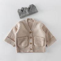 Ins Bebek giyim romper setleri kız erkek örme düz renk pamuk Hırka ceket çocuklar hırka kazak Bahar Güz giyim setleri