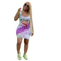Kadınlar Elbiseler Yaz Marka Mektupları Tasarımcı Baskı Yelek Kolsuz Elbise Dudak Batik Sahil Casual Tişörtlü Mini Etek BODYCON Elbiseler D6502