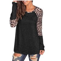 Leopard Panelled Womens Designer Tshirts Fashion Pullover Cr...