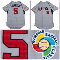 2009 5 Davey Johnson Game Team USA World Baseball Classic Custom Grey Road Jersey Быстрая доставка Все сшитые