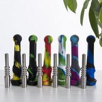 DHL 14mm NC kits com ponta de aço inoxidável Dab palha Oil Rigs tubo de fumar de silicone acessórios para cachimbo de vidro