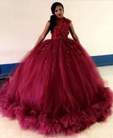 Abiti africani Burgundy Ball Gown Quinceanera Abiti 2019 GIOIELLI MANICHE A MANICHE APPLIQUATO Abiti da festa increspati Dolce 15 Vestidos de 15 ANOS