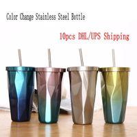 480ml Edelstahl Abnehmbare Cup Farbe ändern Wasserflaschen Insulated Tumblers Hitzeschutz bewegliches Wasser-Cup mit Stroh FY4128