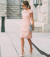 Blush Pink Lace Mother Of The Bride Dresses Summer Short Plu...