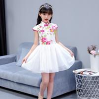 2018 الصيف فتاة الأطفال اللباس شيونغسام تشيباو الصينية التقليدية فستان قصير الأكمام القطن فتاة تنورة الأطفال شيونغسام