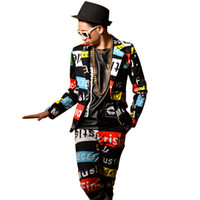 Letters Printing Men Casual Suit Male Slim Fit Blazers Jacke...